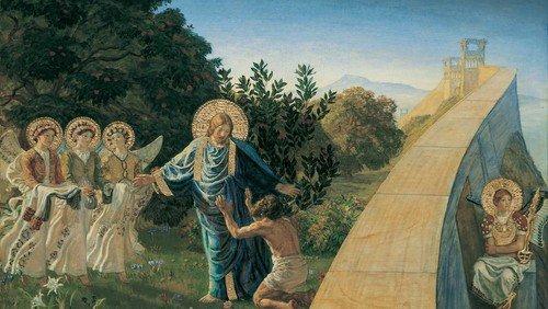 Joakim Skovgaard: Kristus fører røveren ind i Paradiset, 1890