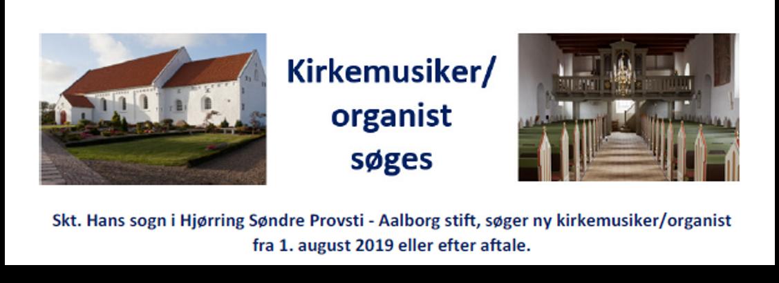 Kirkemusiker/organist søges til Sct. Hans Sogn, Hjørring Kommune