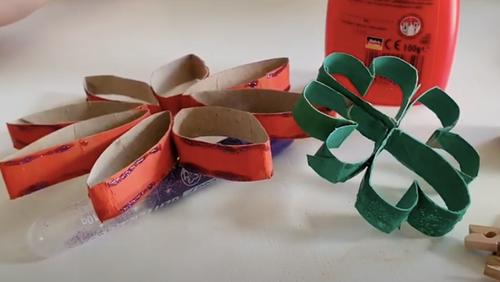 Blüten und Klee aus Klopapierrollen – Ideen für Zuhause