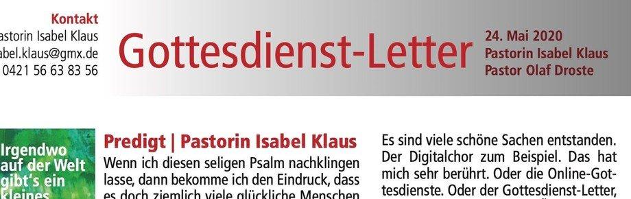 Gottesdienst-Letter   Pastorin Isabel Klaus   24. Mai 2020