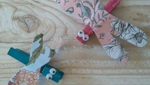 Papiervogel und Klammer-Libelle