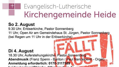Kirchengemeinde Heide sagt Gottesdienste und Veranstaltungen ab