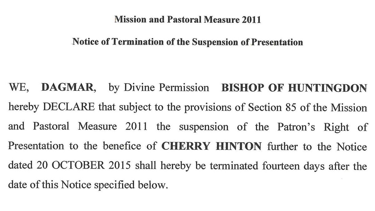 Patron's right of presentation to the Benefice of Cherry Hinton to be restored