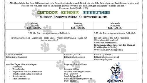 Einladung: Kinderbibeltage vom 12. bis 14. Oktober