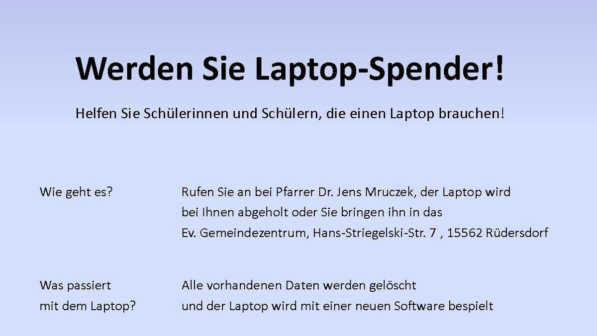 Helfen Sie Schülerinnen und Schülern, die einen Laptop brauchen!