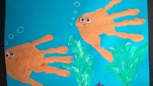 Handabdruck - Fische