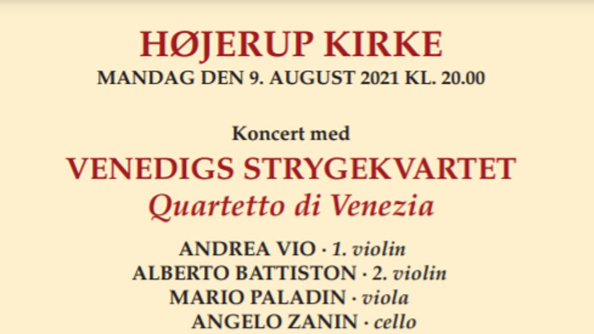 Koncert med Venedigs Strygekvartet - Quartetto di Venezia i Højerup Kirke 9. august kl. 20 Gratis adgang