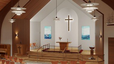 See the new church - now with Danish design icons and art