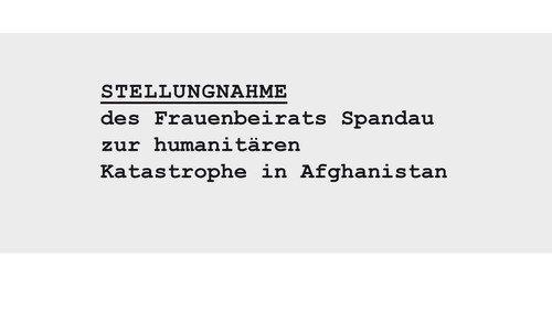 Stellungnahme des Frauenbeirats Spandau zur humanitären Katastrophe in Afghanistan