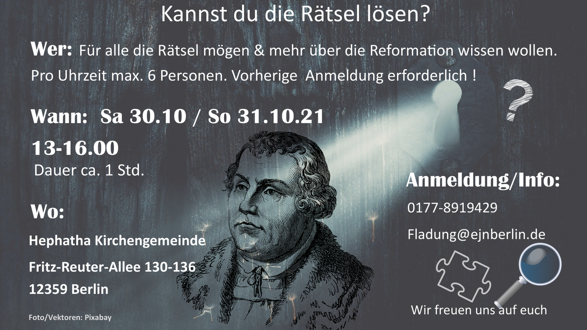 Escape-Room-Spiel zum Reformationstag - Dauer ca. 1 Stunde - FÜR JUNG UND ALT