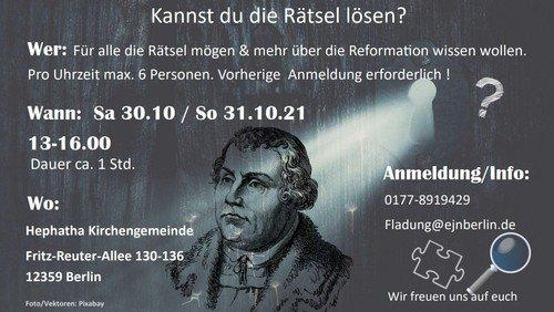 Escape-Room-Spiel zur Reformation - Dauer ca. 1 Stunde