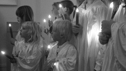 Luciagudstjeneste og - optog