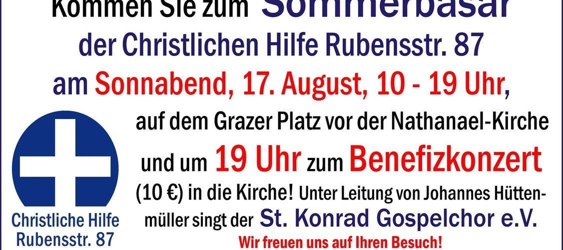 Sommerbasar der Christlichen Hilfe Rubensstr. 87