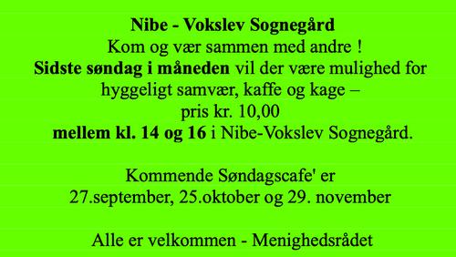 AFLYST - Søndags Café i sognegården