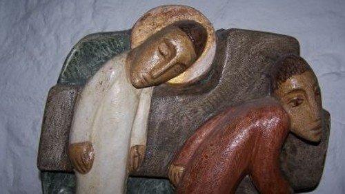 """""""Jesus fällt zum dritten Mal unter dem Kreuz."""" Musikalische Passionsandacht zu einem Kreuzweg-Bild von Sieger Köder in der Paul-Gerhardt-Kirche"""