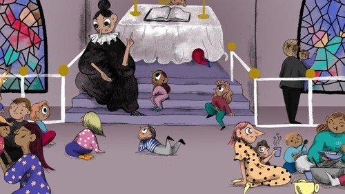 Spaghettigudstjeneste (uden spisning) - dukken Ursula øver sig i Lucia-optog!