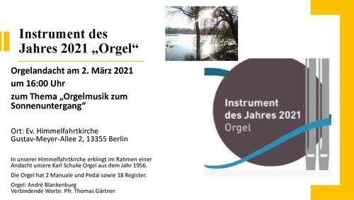Orgelband  -  30 Minuten Andacht + Orgelmusik zum Sonnenuntergang mit André Blankenburg