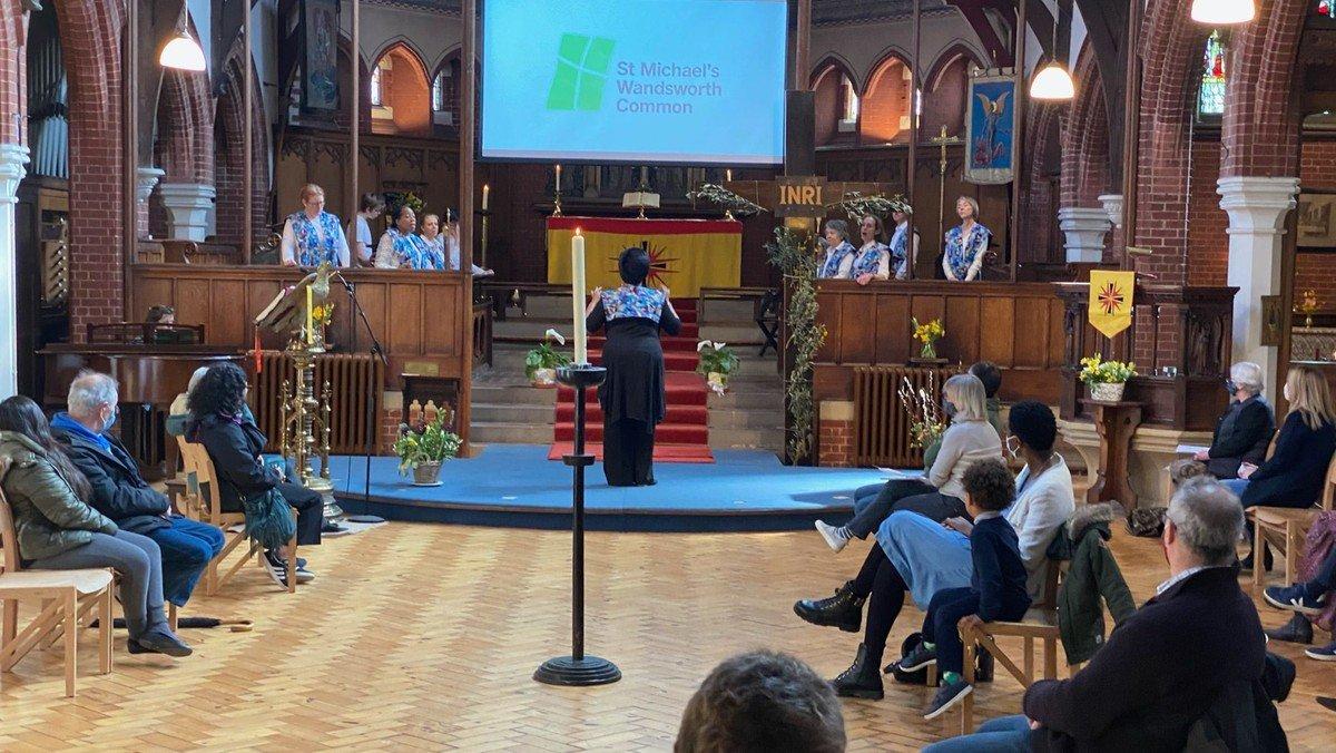 Gospel Choir singing in Sunday service