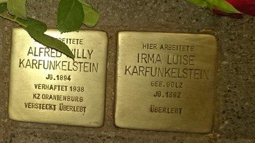 Gedenken am Standort der ehemaligen Synagoge in Frankfurt (Oder)