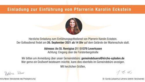 Einführungsgottesdienst von Pfarrerin Karolin Eckstein