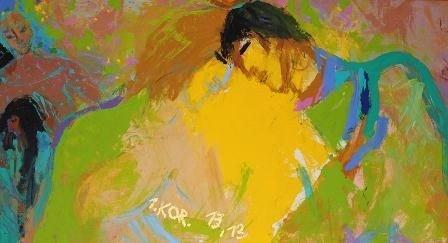Udsnit af Adi Holzers billedfrise, der udsmykker Husum Kirke - Kærlighed, i forgrunden to personer, der læner sig mod hinanden. I baggrunden en skikkelse, der bøjer sig over en anden.