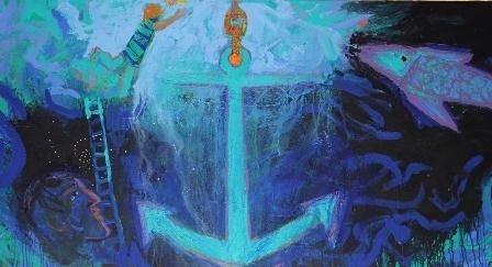 Udsnit af Adi Holzers billedfrise, der udsmykker Husum Kirke - Håbet, en druknende person, en stige og et anker, der fører op af havet.yret