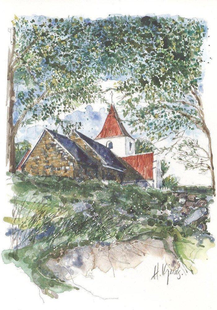 Akvarel af Skørping Kirke