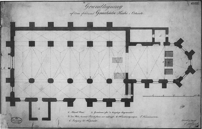 Grundtegning af Graabrødre Kloster Kirke