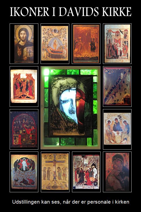 Ikoner i Davids kirke på Østerbro. Udstilling med ikoner fra verdenskunsten. Mandylion, glasmosaik af Peter Brandes, opsat i Davids kirke 2010