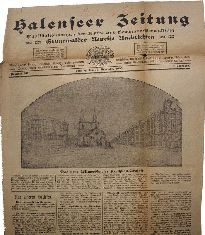 Halenseer Zeitung vom 12.11.1905: »Das neue Wilmersdorfer Kirchbau Projekt«. Das Bild zeigt die geplante Kirche am heutigen Preußenpark.
