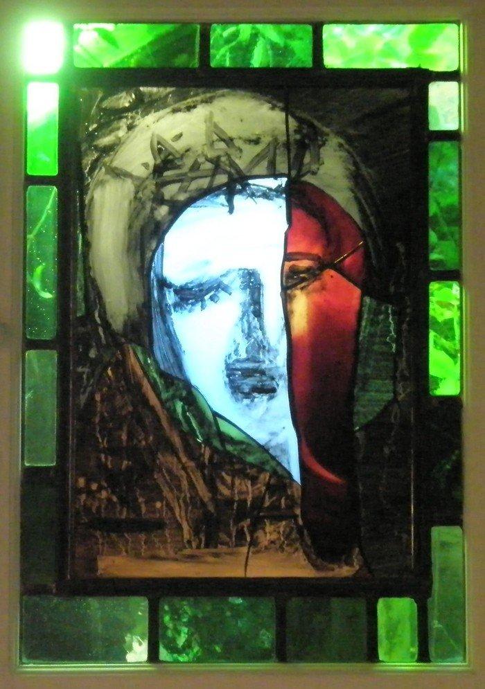 Mandylion, Kristi ansigt. Glasmosaik af Peter Brandes. Davids kirke, Koldinggade 11, 2100 København Ø. Foto Lene Herbert