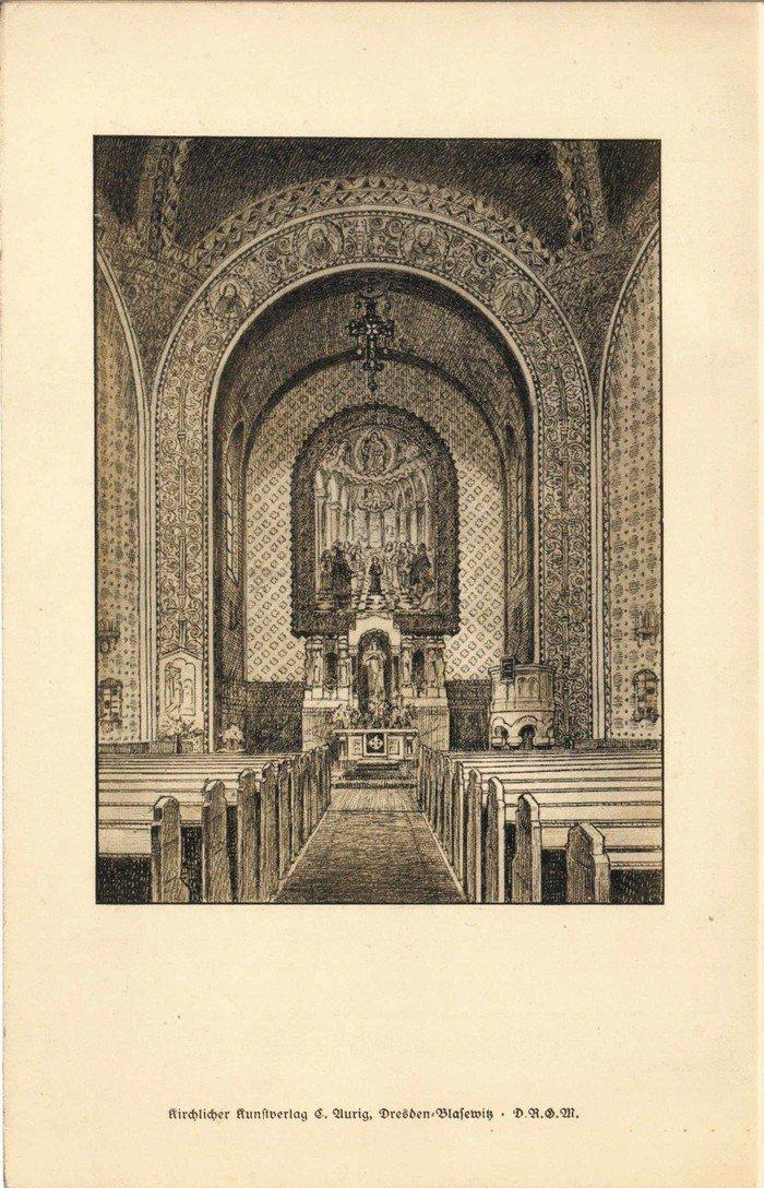 Konfirmationsurkunde mit Zeichnung des Kirchenraumes