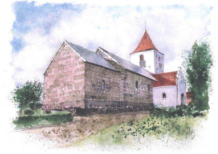 Akvarel af Fræer Kirke