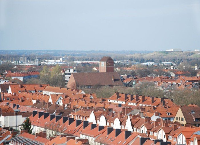 Findorff aus der Luft, Sicht aus dem Riesenrad auf dem Freimarkt, Martin-Luther-Kirche in der Mitte, Aufnahme aus 2008