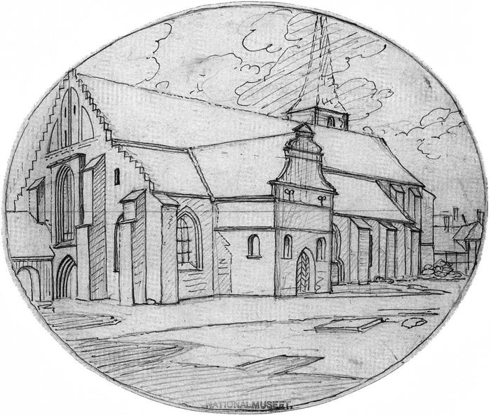 tegning af Gråbrødre Klosterkirke, udført af J. Hanck i forbindelse med nedbrydningen omkring 1817.