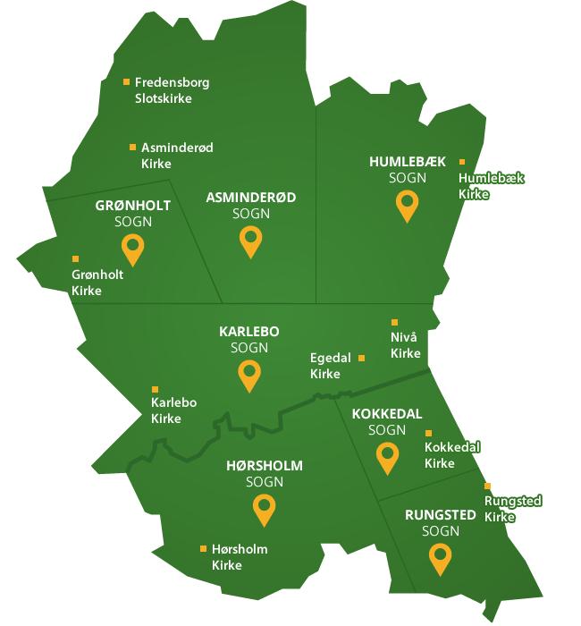Landkort over provstiet og sognene