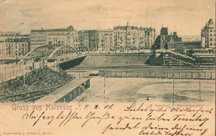 Der Bahnhof am Henriettenplatz - Postkarte von 1901