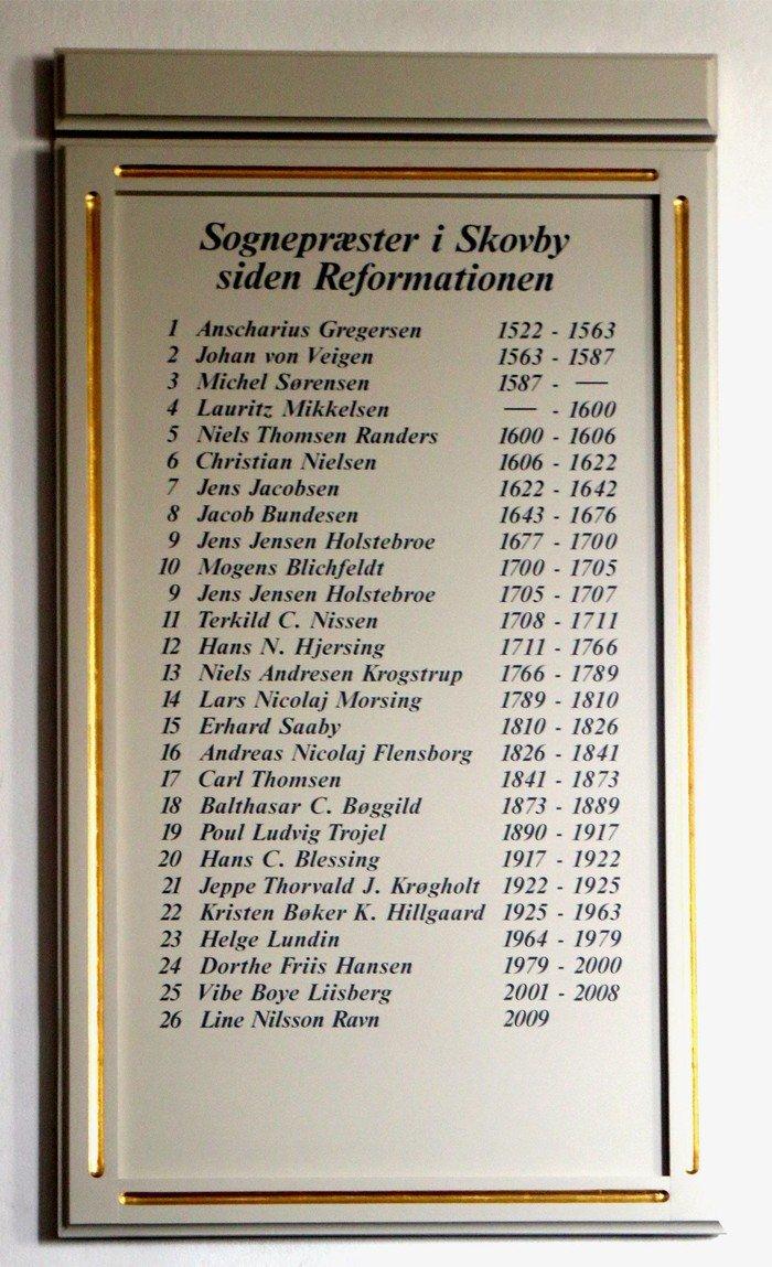 Sognepræster i Skovby Kirke siden reformationen