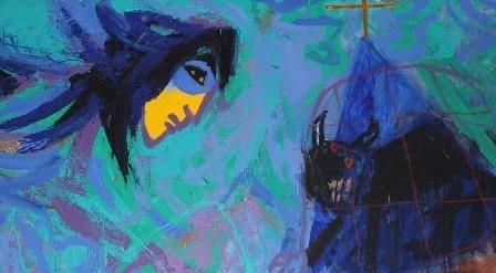 Udsnit af Adi Holzers billedfrise, der udsmykker Husum Kirke - Troens engel i kamp mod udyret