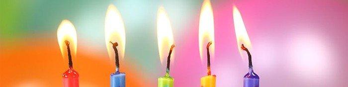 Fem fødselsdagslys