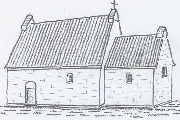 Frihåndstegning: Kirkens mulige udseende i 1100-tallet.