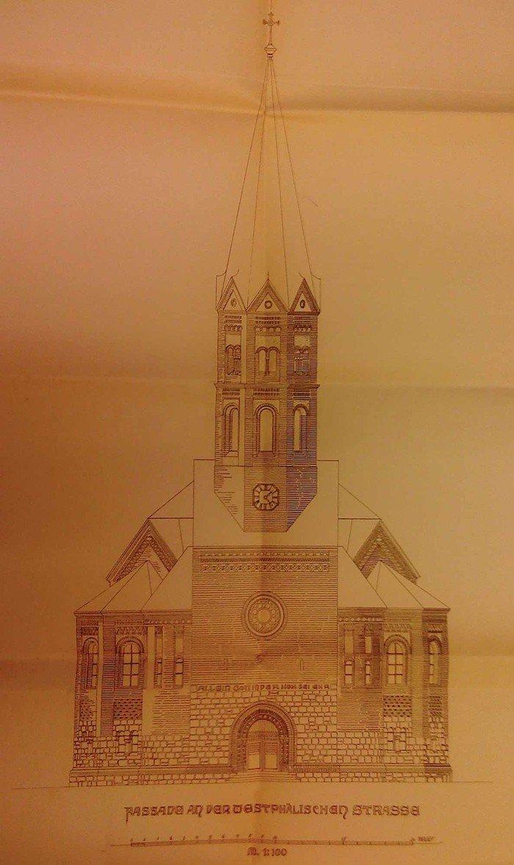 Skizze der Fassadenansicht für die neue Kirche mit Portalinschrift »Allein Gott in der Höh sei Ehr«. Die Turmkonstruktion wurde schließlich leicht verändert.