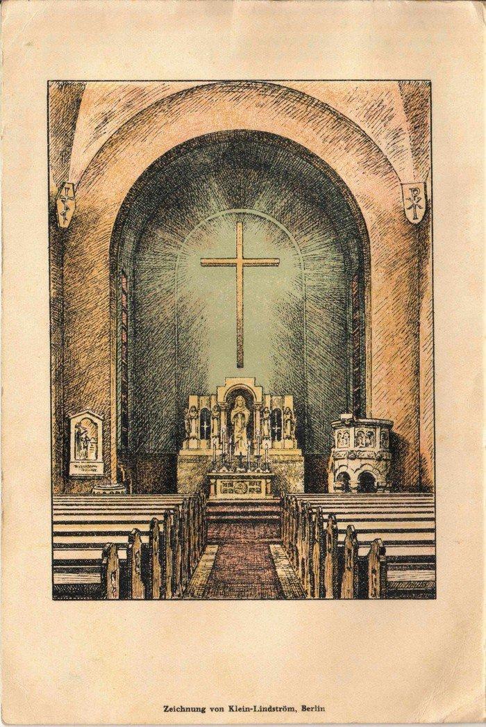 Konfirmationsurkunde mit Zeichnung des neu gestalteten Kirchenraumes