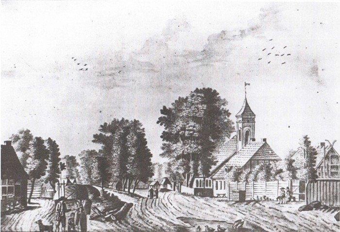 Wilmersdorf mit Kirche, anonyme Tuschzeichnung, 1797