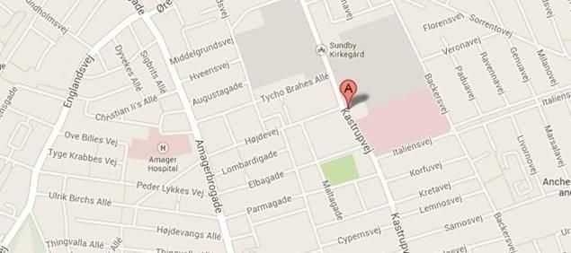 Kort, der viser kirkens adresse