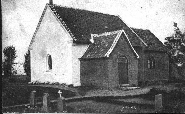 Gammelt fotografi af St. Dalby kirke