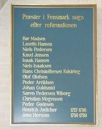 Fensmark præstetavler