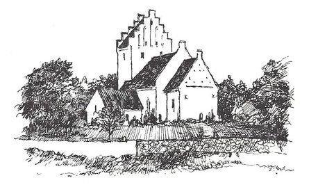 Sort hvid stregtegning af kirken