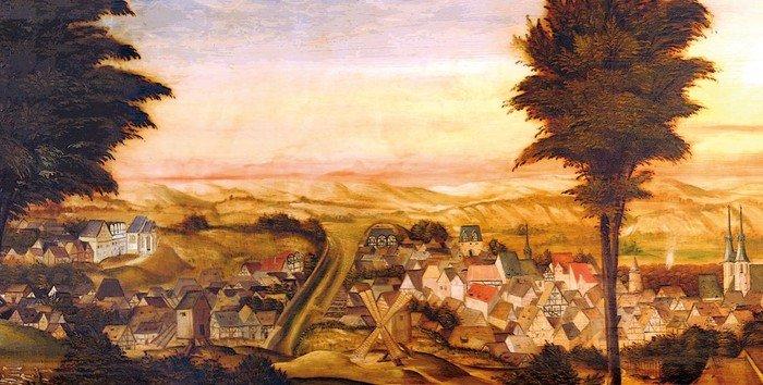 Epitaph zeigt im Hintergrund die Stadt Eisleben vor dem großen Stadtbrand von 1601