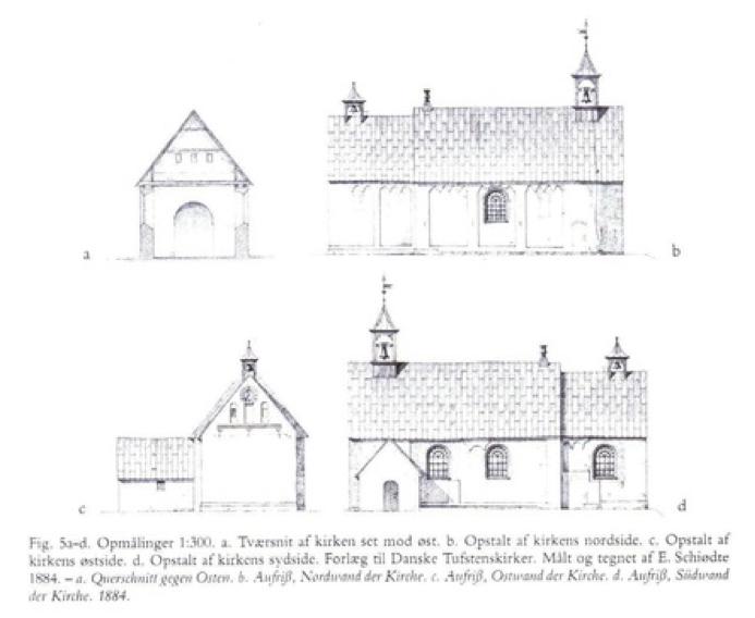 Tegning af kirken fra forskellige vinkler
